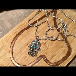.925 Sterling Silver & Turquoise Hamsa Necklace